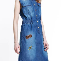 Denim Blue Embroidered Sleeveless Dress With Pocket