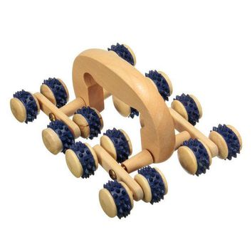 CREYHY3 High Quality 16 Wood Wooden Roller Rolling Ball Wheel Massager Neck Back Leg Waist Body Relax Slimming Care Fitness Massage Tool