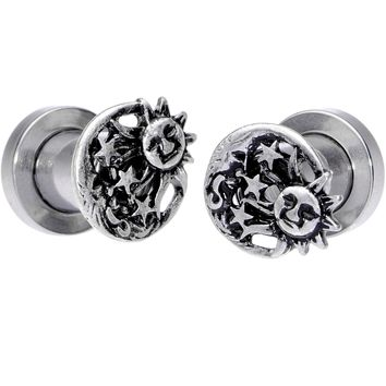 2 Gauge Cosmic Sun and Moon Screw Fit Tunnel Plug Set