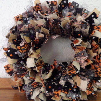"6""  Vintage Halloween Mini Rag Wreath"