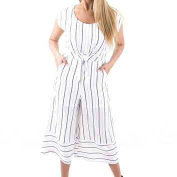 9cd40b1399c3 Women s Striped Woven Culotte Jumpsuit with Front Tie Detail