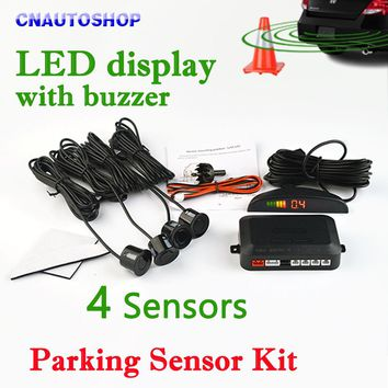 Viecar Car LED Parking Sensor Kit 4 Sensors 22mm Backlight Display Reverse Backup