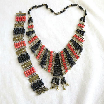 Vintage Egyptian Revival Black Faience Beads and Coral Glass Beads Bib Collar Necklace and Bracelet Demi Parure Set
