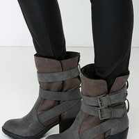 Report Yurick Grey High Heel Fold-Over Boots
