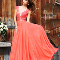 Sherri Hill 11269 Lace Cap Sleeve Prom Dress