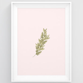 Botanical wall art, PRINTABLE nature poster, Tropical wall art, Tropical print, Gold leaf art, Fern leaf print, Plant decor, Large art print
