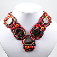 Bead Embroidery Necklace - silver, garnet, coral