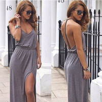 Cotton Twisted Backless Prom Dress One Piece Dress [4981693956]