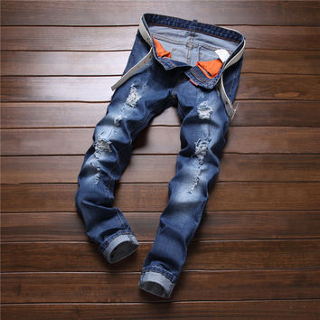Slim Stretch Pants Fashion Ripped Holes Print Jeans Skinny Pants [6541763843]