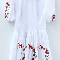 White Puff Sleeve Pointed Flat Collar Embroidered Pleated A-Line Mini Dress