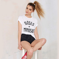 White Doses And Minoses Letter Print Short Sleeves T-Shirt