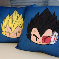 Super Saiyan Vegeta and Vegeta Decorative Pillow Cover Bundle, 16 x 16, Anime Pillow, Dragonball, Pillow Cover, Home Decor, Gift ideas