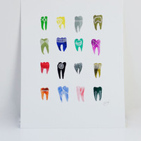 Colorful Symbolic Teeth Print
