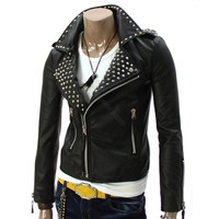 handmade black stud collar Men biker leather jacket with double collar front zip biker leather jacket for men