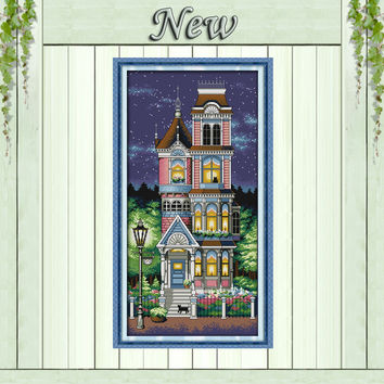 A quiet night scenery decor painting counted printed on canvas DMC 11CT14CT Chinese Cross Stitch kits needlework Sets embroidery
