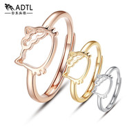 ADTLGenuine 925 Sterling Silver Hollow Hello Kitty Finger Ring For women Rose Gold Wedding Engagement Ring Anel Feminino Jewelry