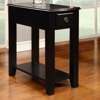 Black finish wood rectangular top chair side end table with pull out drawer and lower shelf