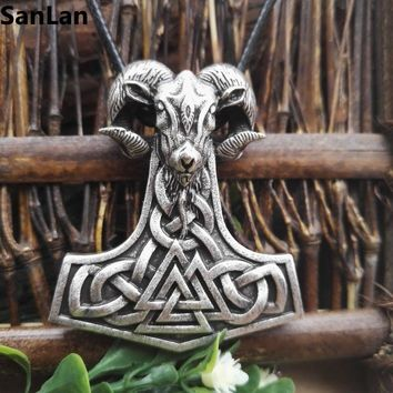 1pcs dropshipping viking goat jewelry THORS HAMMER Pendant THOR Necklace Viking Mjolnir Norse SanLan