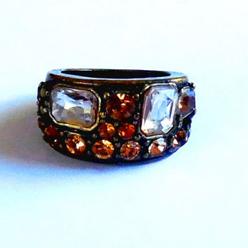 Brown amber sparkling rhinestone ring / clear gems / paste stones / bronze / chunky / vintage / 80s / autumn / gift / pretty statement ring