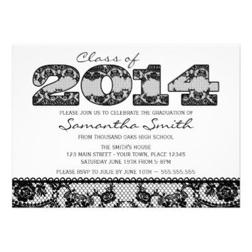 Black Lace 2014 Graduation Party Invitation
