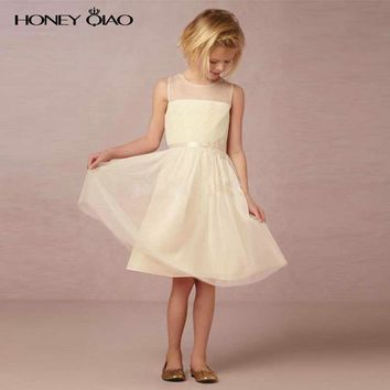 Honey Qiao Light Champagne Flower Girl Dresses for Wedding 2017 A Line Knee Length Party Gowns with Crystal Bow Sash Pleat