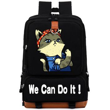 Girls bookbag Fashion we can do it cat cute Women Men Leisure bag Girls Boys Universe Space Children School Bags Bookbag Shoulder Bag backpack AT_52_3