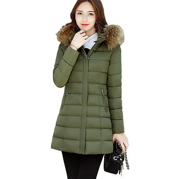 Removable Big Fur collar Hat Warm Cotton Jacket Thickening Large size Coat Winter Women Tops New 2017 Slim Female Outerwear XC41