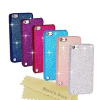 iPod Touch 5 Cases - Mavis's Diary 6 Pieces Bling Glitter Sparkle Hard Cover Cases Bundle for Ipod Touch 5th Generation (White, Hot Pink, Dark Blue, Blue, Dark Purple, Pink) with Cleaning Cloth