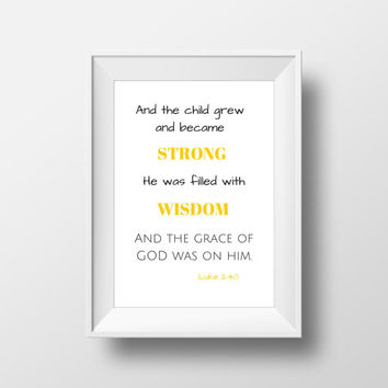 Bible Verse Print, Nursery Decor, Biblical Typography, Printable Quotes, Bible Verse Wall Art - Instant Download - Size A4