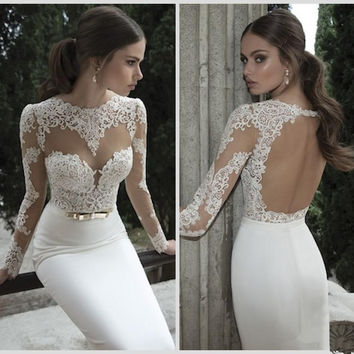 VINOPROM Mermaid Wedding Dresses Jewel Neck Poet Long Sleeve