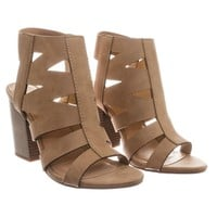 Eve Gladiator Cutout Ankle Bootie Sandal On Chunky Block Heel