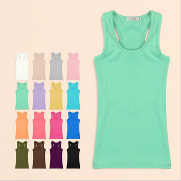 Women Tank Top 2016 Summer Solid Women's Tanks Camisole Sport Fitness Women Tops Vest Tank Shirt  Basic Casual Blouse Camis