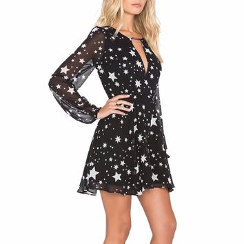 HYH Women's Black with White Stars Print Long Sleeve Chiffon V-Neck Dress