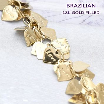 Gold Layered Women Heart Charm Bracelet, by Folks Jewelry