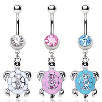 316L Surgical Steel Navel Ring with Turtle Shaped Dangle