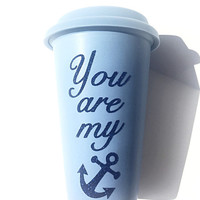 You Are My Anchor Glitter Coffee Mug - To Go Coffee Cup - Travel Coffee Mug - Navy Blue Glitter