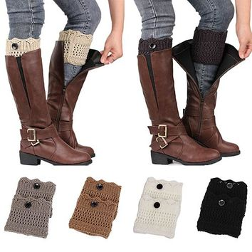 2017  Fashions Women Ladies Winter Leg Warmers Button Crochet Knit Boot Socks Toppers Cuffs  Gifts 9TOB Cotton Happy Funny Socks