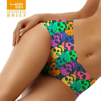 Women Colorful Skull Design Short Panty Bamboo Fiber Spandex Seamless