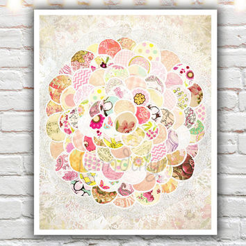 pastel pink baby girl nursery decor, shabby chic art print, unique nursery art, pink shabby chic decor, mixed media collage art