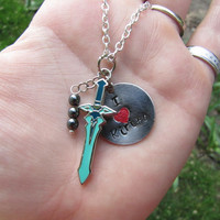 I Heart Kirito Sword Art Online Inspired Necklace