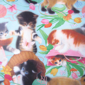 Full Sheet of Vintage Unused Kitten Gift Wrap - '70s Vintage Kitten Gift Paper - Playful Kitten Wrapping Paper
