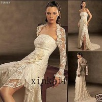 Custom Ivory Bridal Wedding Prom Gown Dress With Jacket For Sale