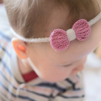 Crochet baby headband, baby bow hairband, summer baby headband