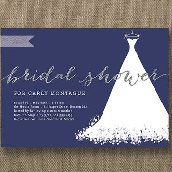 Silver Glitter Bridal Shower Invitation Wedding Gown White Text Navy Blue Modern Sparkly Minimal Printable Digital or Printed - Carly Style