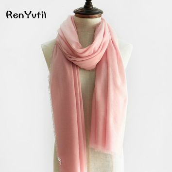 RenYvtil Brand 2018 New Women Wool Scarves Fashion Embroidery High Quality Soft Beach Big Lady Pashmina Shawls Bandana foulard