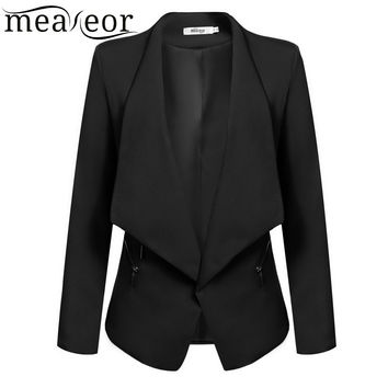 Meaneor Women Cardigan Jacket For Office Lady Elegant Casual Autumn Winter Long Sleeve Blazer Coat Navy Blue,Black,Army Green