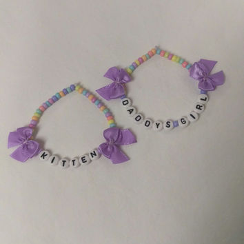 DDLG Bracelets for the Perfect Little! Pretty Pastel TOHO Glass Beads with Bows mdlg ABDL