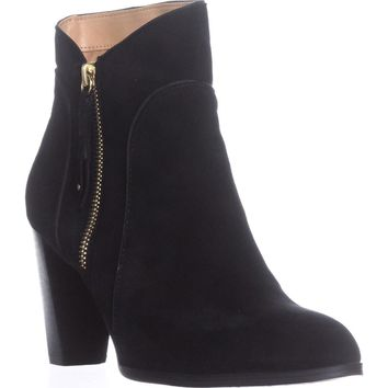 Adrienne Vittadini Taki Zip-Up Booties, Black Suede, 9 US