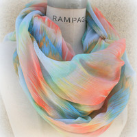 Stripped Tye Dye Scarf Infinity Scarf Summer Lightweight Colorful Women Scarf - By PiYOYO