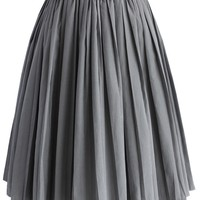 Accordion Pleated Skirt in Grey